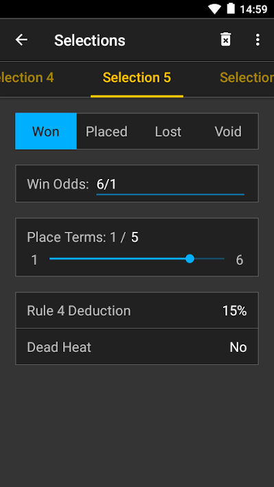 bet selection screenshot on android