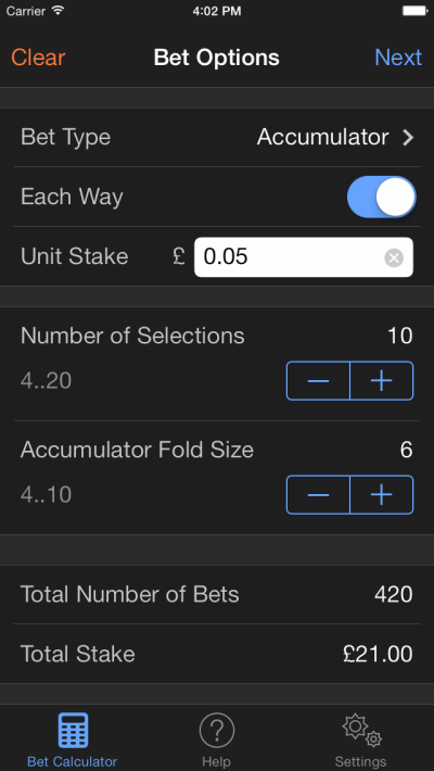 bet options screenshot on ios