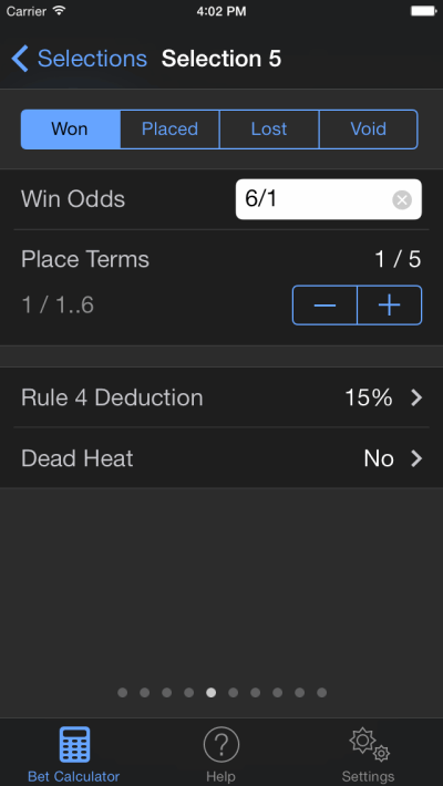 bet selection screenshot on ios